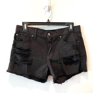 else Black Distressed Fringe Cutoff Shorts